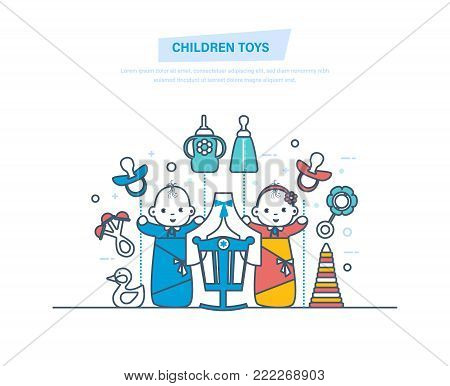 Children toys concept. Children's toys and accessories for newborns. Kids toys, rattles, bottles, nipples, pyramids. Newborn boy and girl. Illustration thin line design.