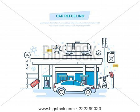 Car refueling with gasoline at filling station. Car service, shop. Fuel and gas petrol station. Petroleum systems development. Oil industry, factory, warehouse. Illustration thin line design.