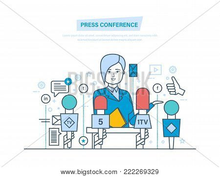 Press conference. Communications and live report dialogue, interviews, questions, media, news. Reporters journalists, with microphones, dictaphones take interview Illustration thin line design