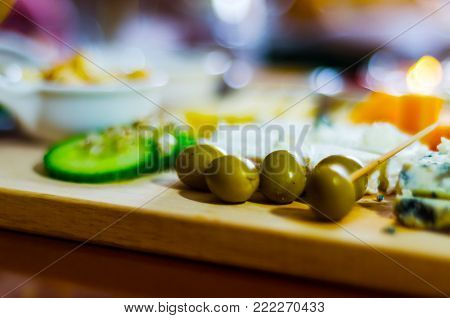 Set Of Different Cheeses On A Wooden Board, Cheese Board, Delicious Snack, Healthy And Exclusive Foo