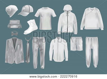 Set mockup men s clothes: hats, caps, socks, t-shirts, sweater, sports sweatshirts, shorts, pants, shirts, jackets socks accessories Template fashion clothes cap mockups Vector illustration