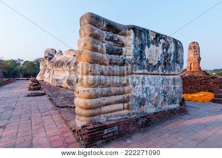 The joint feet of Reclining Buddha in Wat Lokkayasutharam. Ayutthaya, Thailand.