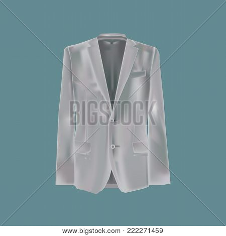 Mockup men's clothes. Man's handsome, business suit, jacket. Black variant of template. Clothes in dark colors. Template of fashionable clothes for work, holidays, serious events. Vector illustration.