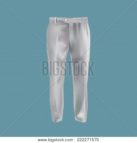 Mock-up of men's clothing, templates. Men's business pants, trousers for active life, for working. Black version of the template. Outer clothing in dark colors. Fashionable clothes mock-up. Vector illustration.
