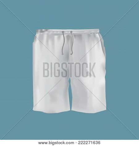 Mockup of men s clothes - beautiful fashion short shorts. Clothes in light, white colors. Outdoor short pants. Template fashion clothes mockup tshirt. Front view. Vector illustration.