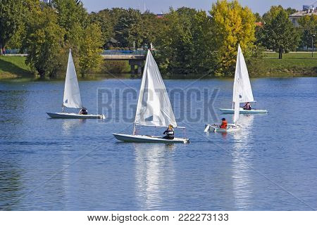 Regatta sailing of small boats on the lake