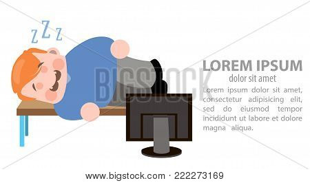 The man sleeps in the workplase. Vector illustration on white background.