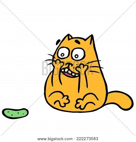 Cute cat turned and was frightened of the terrible cucumber. Funny cartoon animal character. Vector illustration.