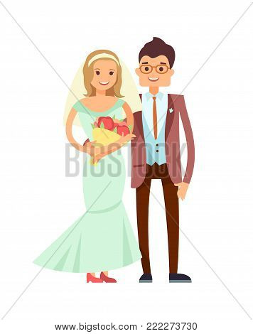Glad pair vector illustration isolated on white, pretty girl in beauty gown with elegant veil, groom in brown trousers and jacket with nice vest