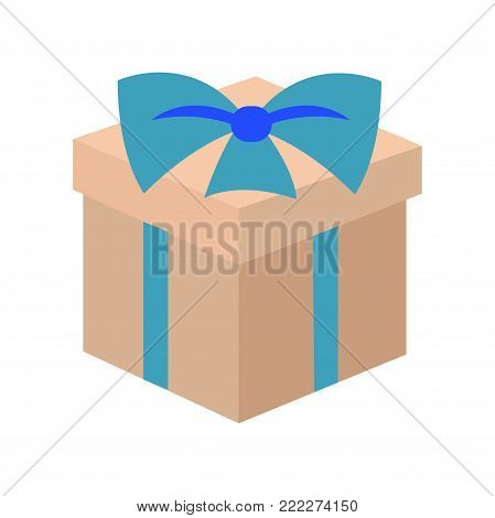 Present and Christmas elegance, gift with cute bow made of ribbon, wrapping covering box with something inside of it vector illustration