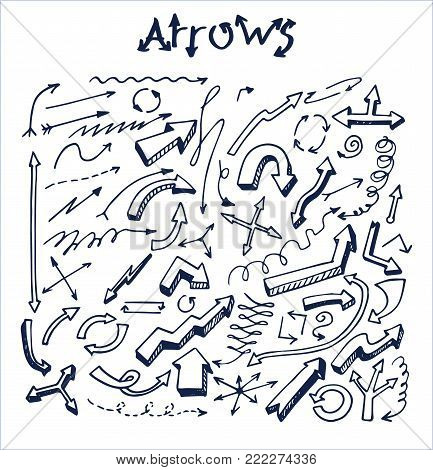 Lot of pretty arrows sketches vector illustration with many pointers templates, straight and circled striped and wavy patterns isolated on white field