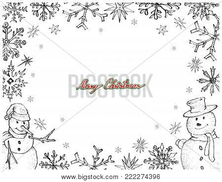 Illustration Hand Drawn Sketch Collection of Two Cute Classic Snowman with Snowflakes, An Anthropomorphic Snow Sculpture Often Built by Children in Christmas Season.