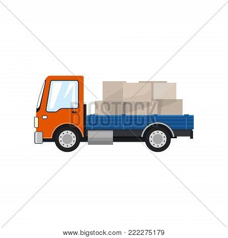 Small Cargo Truck, Lorry with Boxes Isolated on a White Background, Delivery Services, Logistics, Shipping and Freight of Goods, Vector Illustration