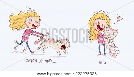 Catch up and cuddle. Cartoon girl is catching the cat. Girl holding and strongly cuddling cat. Isolated vector illustration of happy kid and pet. Funny cartoon character