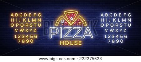 Pizza logo emblem neon sign. Logo in neon style, bright neon sign with Italian food promotion, pizzeria, snack, cafe, bar, restaurant. Pizza delivery. Vector illustration. Editing text neon sign.