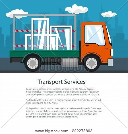 Brochure of Lorry, Small Truck Transports Windows, Transportation and Cargo Delivery Services, Logistics, Shipping and Freight of Goods, Poster Flyer Design, Vector Illustration