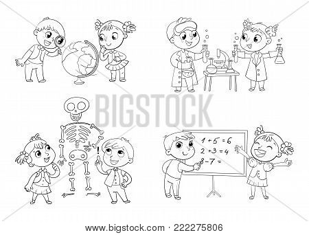Children in the lesson of geography, chemistry, mathematics and biology. Funny cartoon character. Vector illustration. Isolated on white background. Coloring book