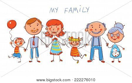 Big happy family consisting of a father, mother, daughter, son, grandparents posing together. In the style of children's drawings. Funny cartoon character. Isolated on white background