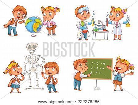 Children in the lesson of geography, chemistry, mathematics and biology. Funny cartoon character. Vector illustration. Isolated on white background