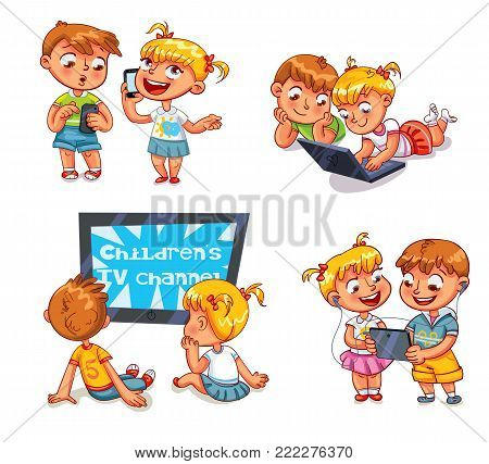 Kids talking on the phone. Boy is getting SMS. Children watching TV. Brother and sister with laptop. Children play on tablet. Funny cartoon character. Vector illustration. Isolated on white background