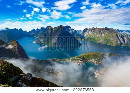 Lofoten islands is an archipelago aerial photography., Norway. Is known for a distinctive scenery with dramatic mountains and peaks, open sea and sheltered bays, beaches and untouched lands.