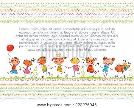 Cute kids. Children book cover. Template for advertising brochure. Ready for your message. In the style of children's drawings. Funny cartoon character. Vector illustration. Isolated on white background