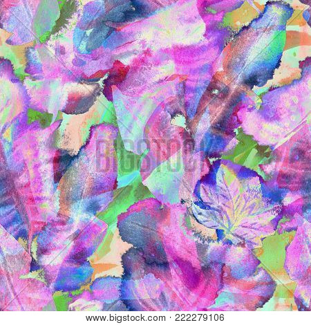 Creative watercolor pattern. Geometric seamless texture. Artistic abstract floral brushstrokes tiles. Japanese fabric background for cotton. Hand drawn watercolor, crayon and acrylic swimwear texture.