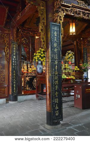 Hanoi, Vietnam - 16th December 2017. The historic Quan Thanh Temple in the Ba Dinh district of Hanoi, Vietnam. The temple, also known as Tran Vo Temple, was built between 1010 and 1028
