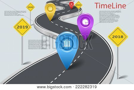 Vector company corporate milestone, history timeline, business presentation layout, infographic strategic plan workflow, grey background. Car road with yellow signs, years, pointers, concept template
