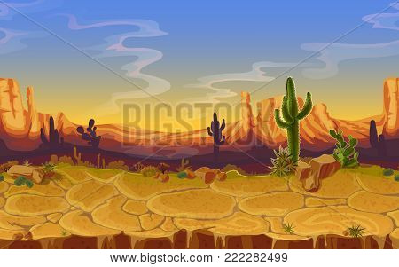 Vector seamless desert landscape. Horizontal cartoon game, banner background, panorama with wild nature, cactus, rocks, trees, mountains sunset cloud sky, canyon dry ground. Western scene illustration