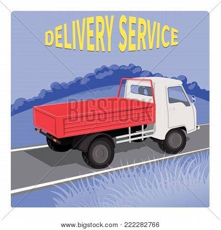 A city truck is driving along a rural road, Rear view, from the side of the body. Use for crossings, delivery of products to shops in the city.  Text. Banner.On the background of nature.Vector.
