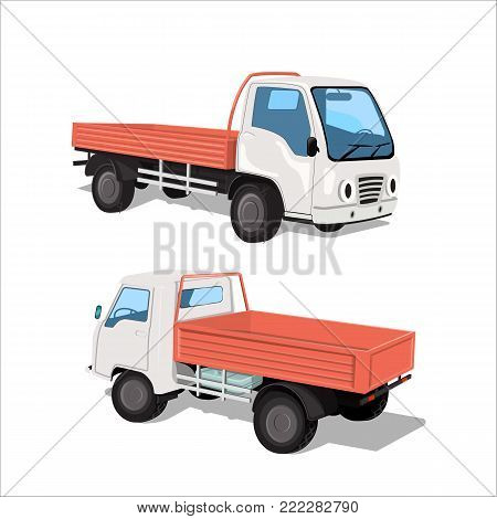 A set of two city trucks, front and rear. A small truck for moving, delivering products to the same point in the city. An open, empty frame, a body. Realistic image, vector illustration.