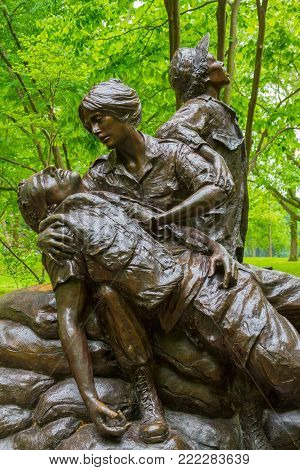 WASHINGTON DC - May 10, 2016: Vietnam Women's Memorial designed by Glenna Goodacre, dedicated on November 11, 1993