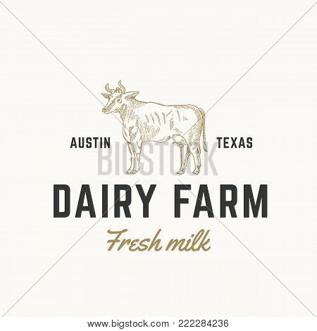Fresh Milk Dairy Farm Abstract Vector Sign, Symbol or Logo Template. Hand Drawn Engraving Style Cow Sillhouette with Retro Typography. Vintage Emblem. Isolated.