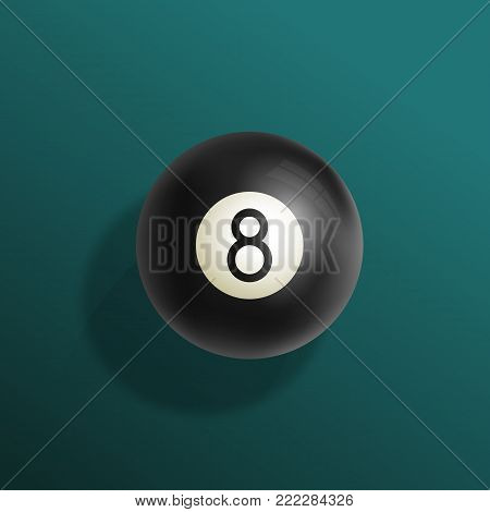 Billiards Eight Ball Realistic Vector Illustration. Green Pool Table Cloth with Black Sphere and Soft Shadows. Abstract Luck Symbol Card Template. Gradient Background.