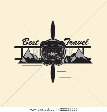 Logo indicating extreme rest and travel. Bulldog in the form of an extreme pilot, in a mountainous area. Vector illustration in gray tones.