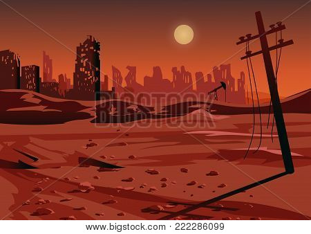 Landscape after a nuclear war or an environmental disaster, vector illustration