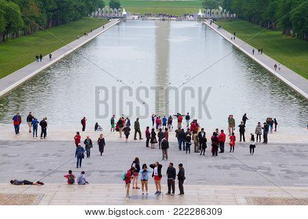 WASHINGTON DC - May 10, 2016: Lincoln Memorial, Washington DC view toward Washington Monument reflecting pool