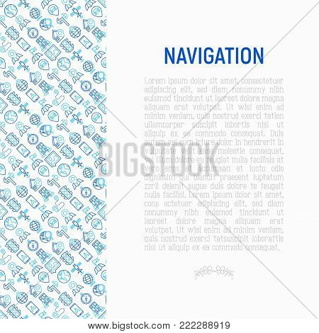Navigation and direction concept with thin line icons set: pointer, compass, navigator on tablet, traffic light, store locator, satellite. Modern vector illustration for banner, print media, web page.