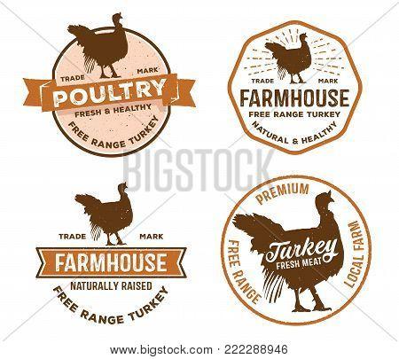 vector vintage badge label logo of poultry, farm, meat shop, butcher, turkey livestock free range local farm