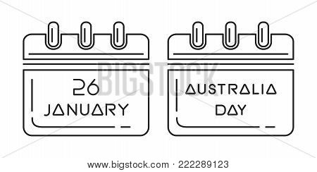 Australia Day calendar. 26 January. Holiday date in calendar. Line icon set for Australia day. Vector illustration