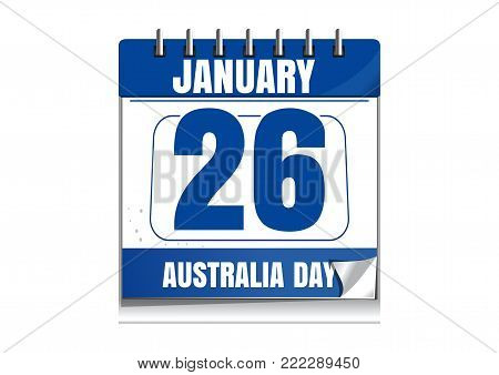 Australia day calendar. 26 January. National Day of Australia. Holiday date in calendar. Vector illustration