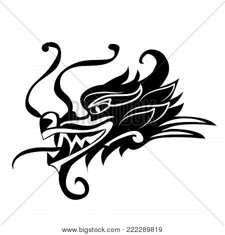 Evil dragon head. Artwork inspired with traditional Chinese and Japanese dragon arts Vector