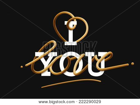 I love you creative gold lettering Glossy blended letters. 3D bubble font. Typography vector illustration. interlaced text.