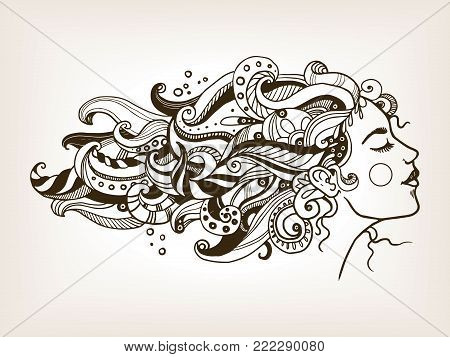 Woman with art hair engraving vector illustration. Scratch board style imitation. Hand drawn image.