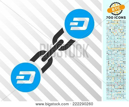 Dash Blockchain pictograph with 700 bonus bitcoin mining and blockchain pictures. Vector illustration style is flat iconic symbols designed for crypto-currency apps.