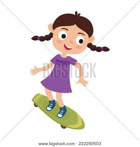 Summer activity skateboarding concept. Vector illustration of skateboarder girl riding on skateboard in cartoon style isolated on white background. Summer break, girl having free time. Happy child.