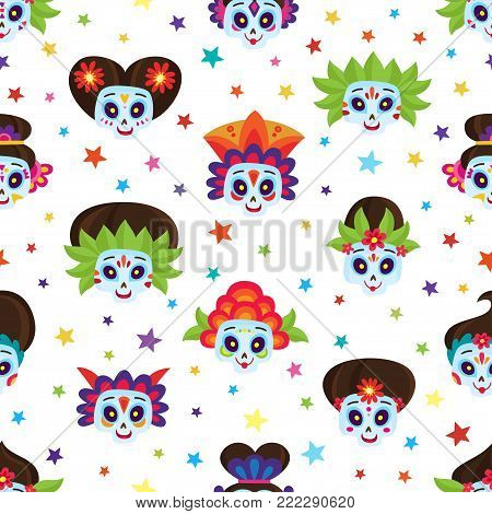 Seamless pattern with colorful skulls and stars for day of the dead or halloween. Sugar skulls for mexican day of the dead isolated on white. Cute skulls in a cartoon style.
