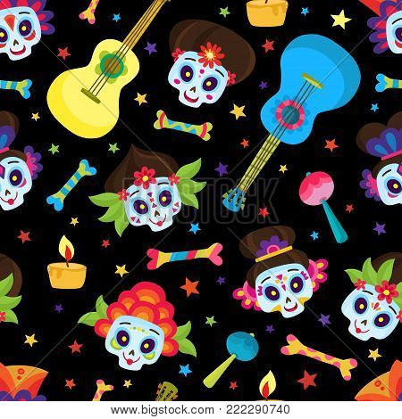 Seamless pattern with colorful skulls and stars for day of the dead or halloween. Sugar skulls for mexican day of the dead isolated on black. Cute skulls in a cartoon style.