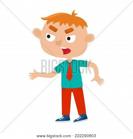 Color vector illustration of a boy standing and angry shouting. Angry disgruntly stylish hipster isolated on white background. Cartoon boy used for child books, stickers, posters.